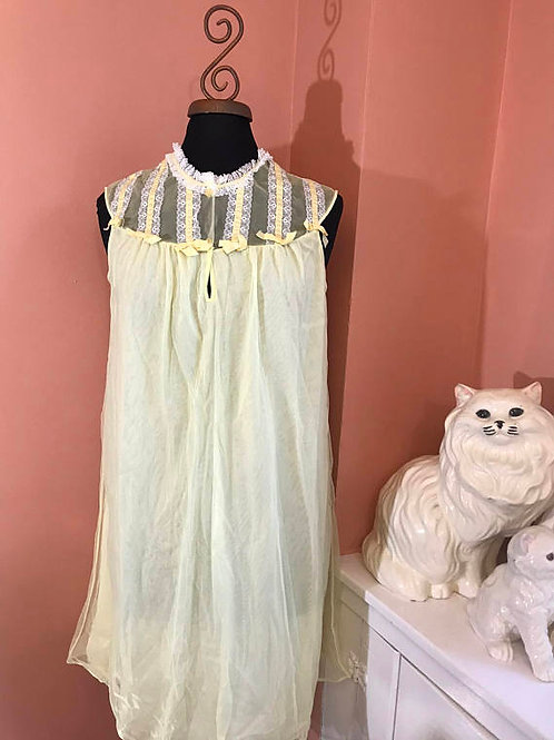 Vintage Nightgown, 60s Nightgown, Yellow Sheer Nightgown by Aristocrat, Nighty