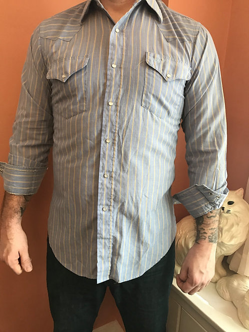 80s Western Shirt, Blue Pinstripes, Cowboy, Snap Button Down