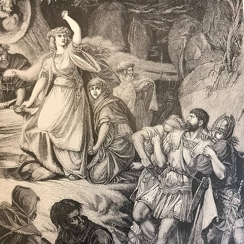 Antique Print, Litho, Wood Engraving, Bellini Opera Norma, Italian Opera Art