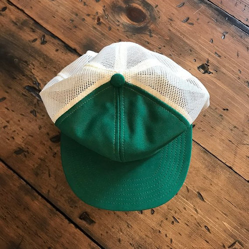 Green and White Trucker Hat, Vintage 80s, Dad Cap, Baseball Cap, Mesh