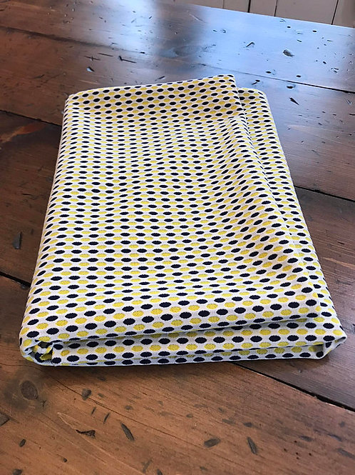 Vintage Fabric Remnant, 60s Yellow Black White, Geometric Honeycomb, Polyester