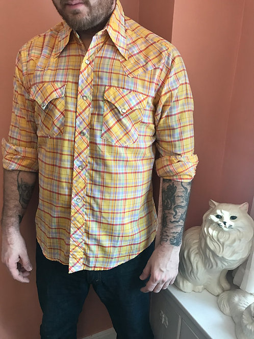 80s Western Shirt, Yellow Cowboy, Snap Button Down