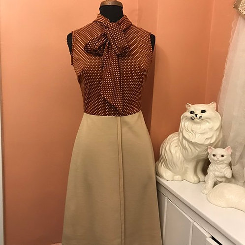 Vintage Dress, 70s Dress, Beige And Brown Polka-Dot Bow Collar, Sexy Secretary