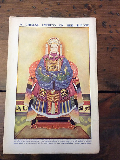 Antique Print, Vintage Print - Book Page, Chinese Empress, Tze-hsi, Litho