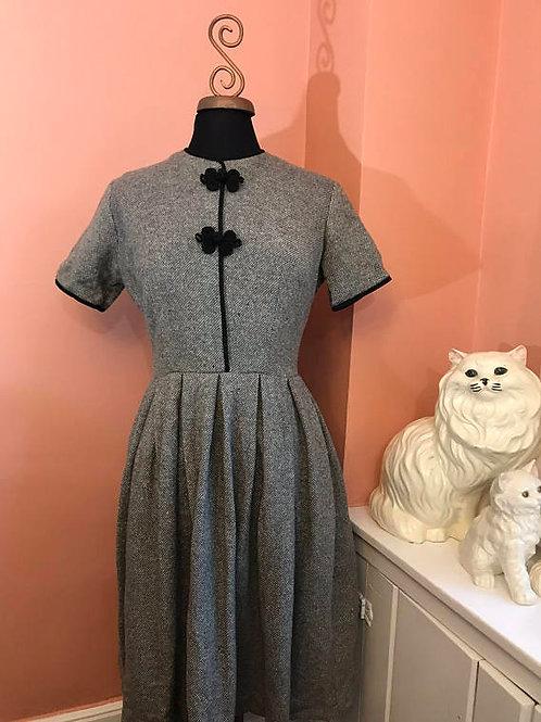 Vintage 50s, 60s, Wool Dress, Pleated Tweed, Black Trim by Normay