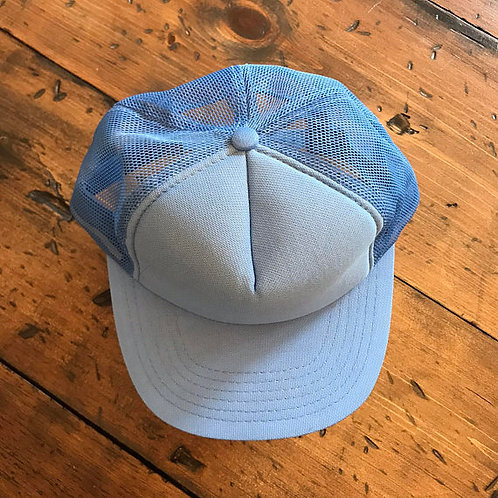 Light Blue Trucker Hat, Vintage 80s, Dad Cap, Baseball Cap, Mesh Cap, Red, N