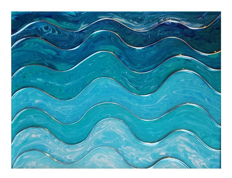 """Glistening Waves"" 11 x 14, framed $55"