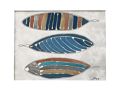 Three Blue Orange Feathers