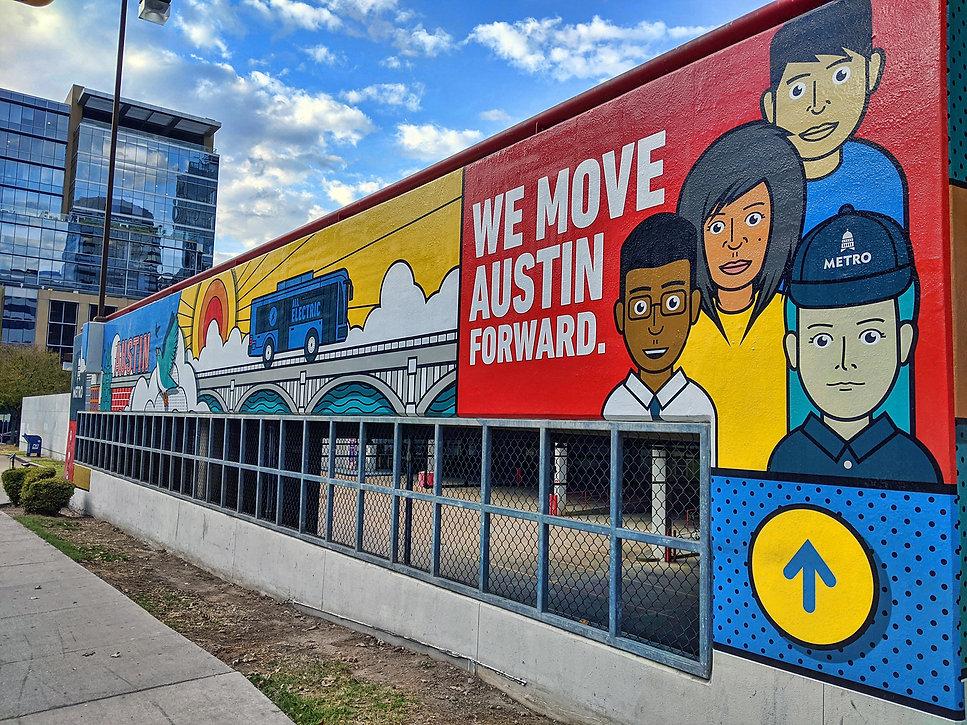 CapMetro mural - we move austin forward