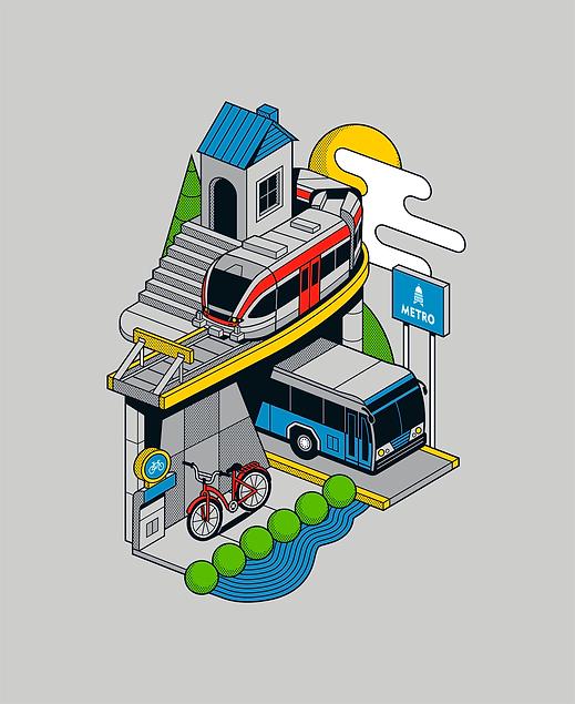 Escher-esque illustration of a CapMetro bus, train, and bicycle