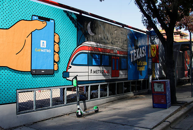 CapMetro mural - Texas let's take transit