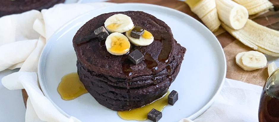 Chocolate Peanut Butter Banana Protein Pancakes