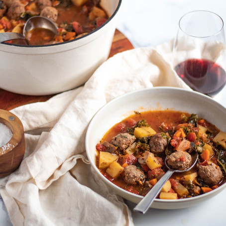 Garlicky Vegetable and Beef Soup