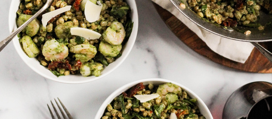 Pesto Shrimp and Farro with Sun Dried Tomatoes