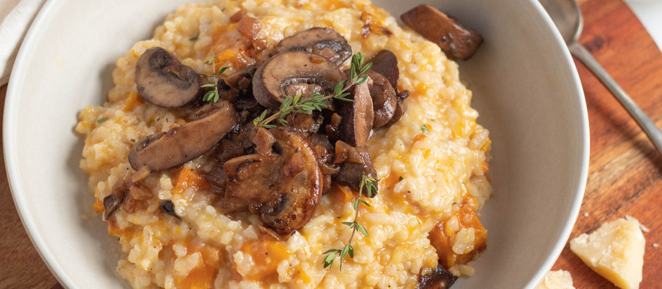 Butternut Squash Risotto with Caramelized Onions and Mushrooms