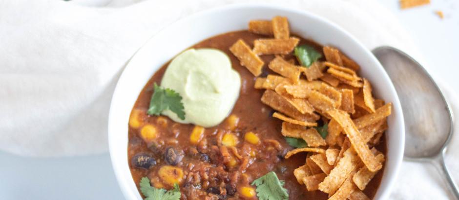 "Instant Pot Vegan Tortilla Soup with Avocado ""Cream"""