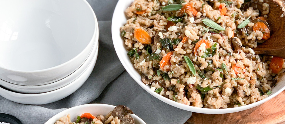 Mushroom Risotto with Roasted Carrots and Swiss Chard