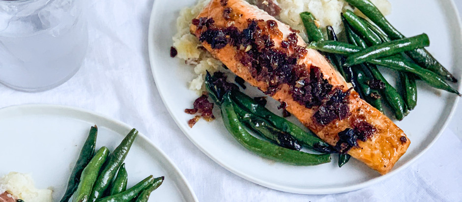 Maple-Bacon Roasted Salmon with Sautéed Green Beans and Smashed Potatoes