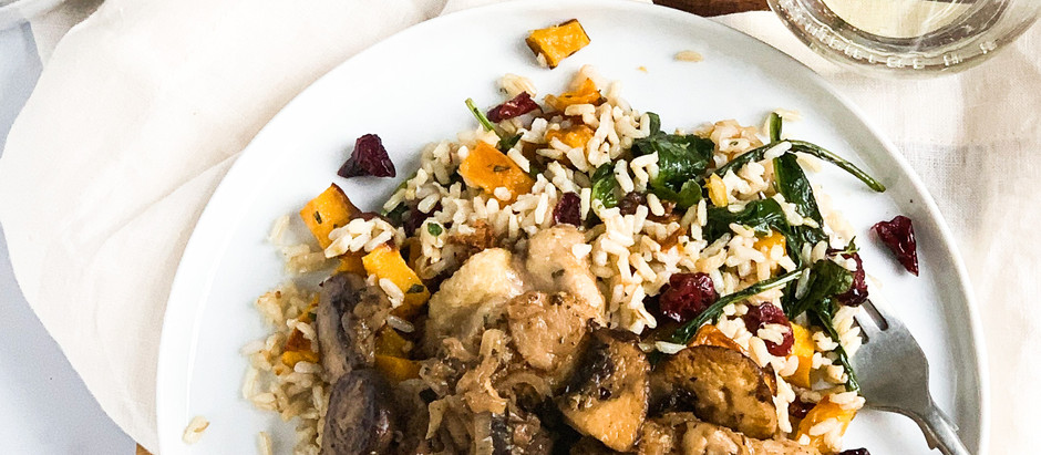 Lemon Thyme Chicken Thighs w/ Butternut Squash Rice Pilaf