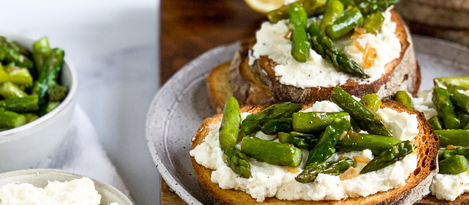Goat Cheese-Ricotta Toast with Lemon Scented Asparagus