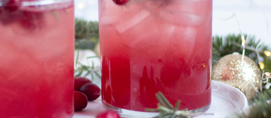 Cranberry-Maple Gin Fizz with Rosemary