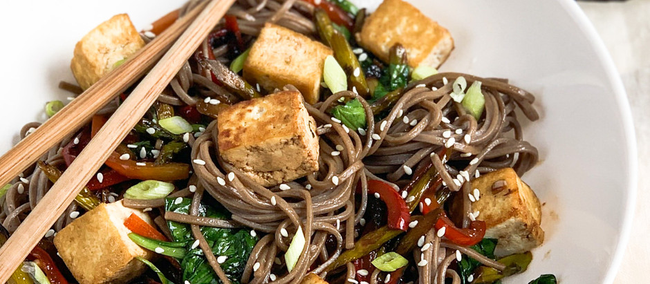 Soba Noodles with Crispy Tofu and Mixed Vegetables