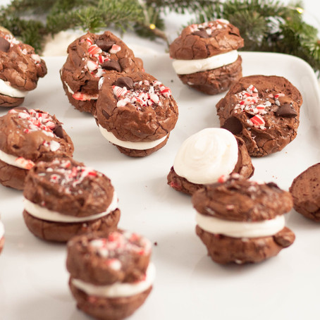 """Chocolate Peppermint """"Brookie"""" Sandwiches"""