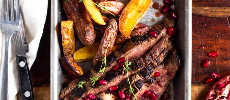 Pomegranate-Thyme Flank Steak with Herb Roasted Potatoes