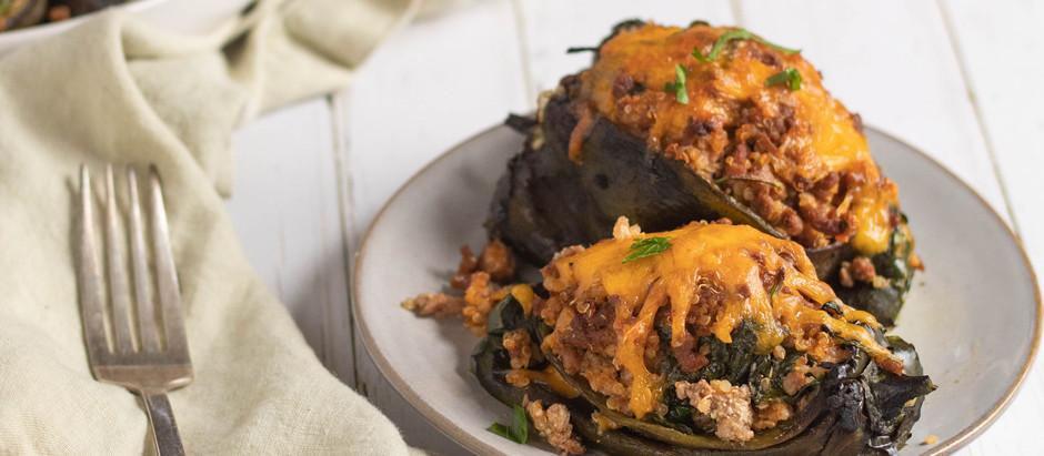 Turkey and Quinoa Stuffed Poblano Peppers