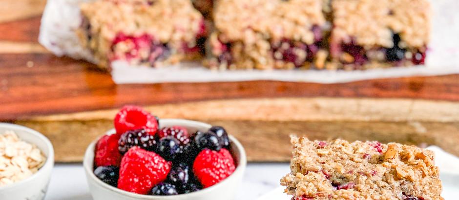 Mixed Berry and Walnut Baked Oatmeal Bars