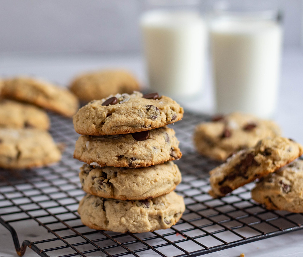 Stack of chewy peanut butter banana chocolate chip cookies