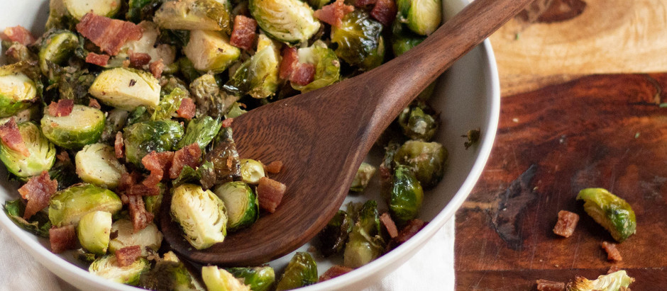 Mustard and Bacon Roasted Brussels Sprouts
