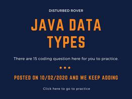 Data Types Problems(JAVA)