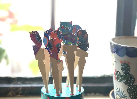 Palillos Botaneros pintados a mano en Tonalá, Jal