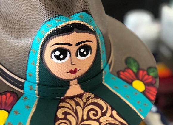 Sombrero de palma café pintado a mano