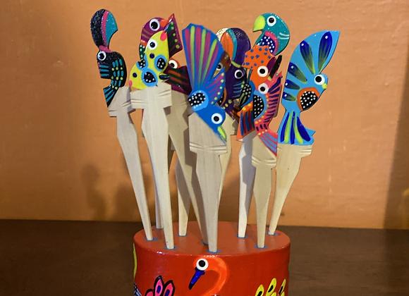 Palillos Botaneros Pintados a Mano en Tonalá