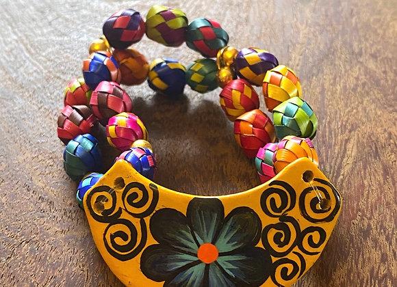 Pulsera pintada a mano en cerámica con artesanas Mixtecas