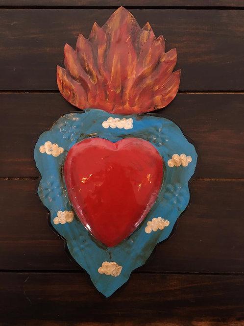 Corazón de latón pintado a mano en Tonalá, Jal