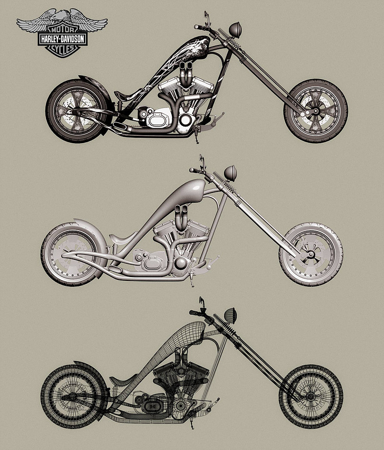 3D model of Harley Motobike
