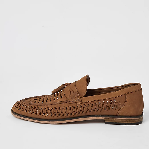 Brown leather woven tassel loafers - Size UK 9