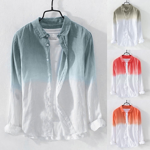 Summer Men Breathable Lapel Collar Hanging Dyed Gradient Cotton Hawaiian Shirt