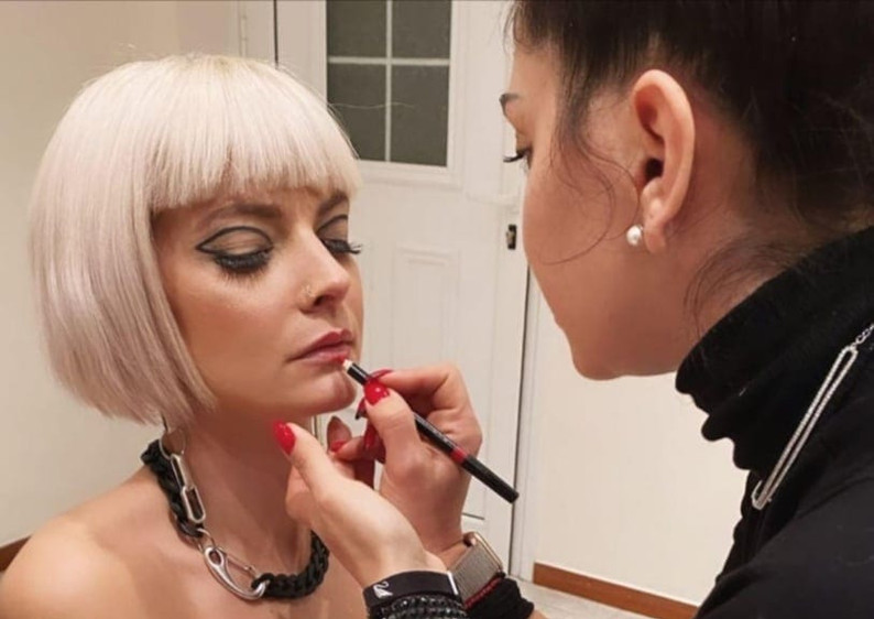 Model@anastasia_krs getting ready for the photo shooting of rockish collection