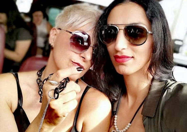 With friend and model @zarya_azadi touring at Beverly Hills, at L.A Fashion Week