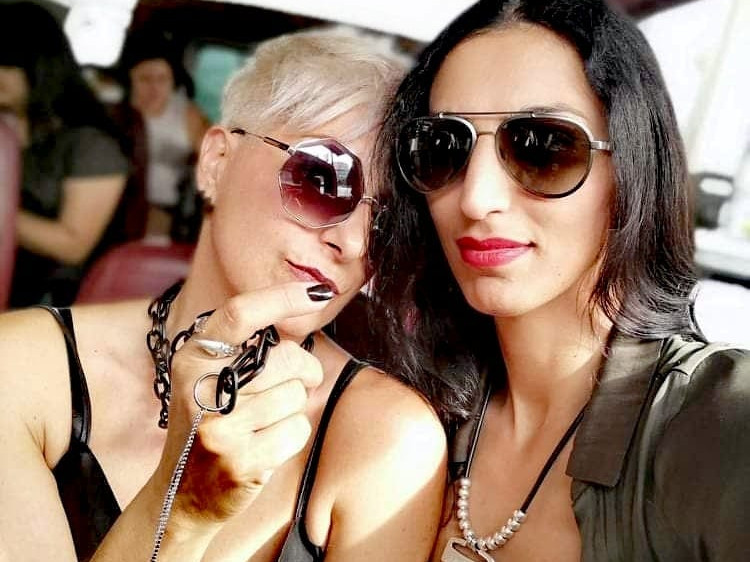 With friend and model@zarya_azadi touring at Beverly Hills, at L.A Fashion Week