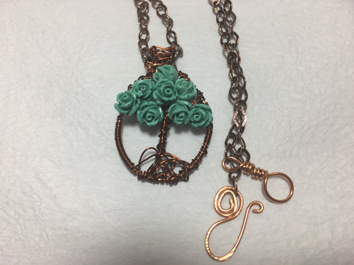 Tree of Life Copper Necklace with Blue Roses