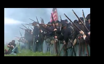 Union Soldiers shooting rifles
