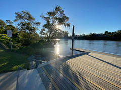 Sunlight...water...TRC pontoon and an exceptionally high tide.