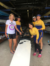 Masters women prepping for a race in a local regatta at the Toda Olympic Rowing Course in Tokyo.