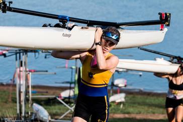 Ella McKenzie making boat carrying look easy.