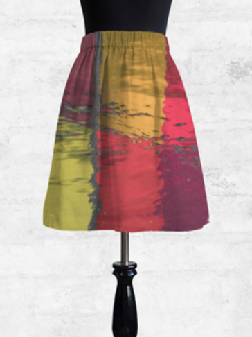 Red Reflection Cupro Skirt